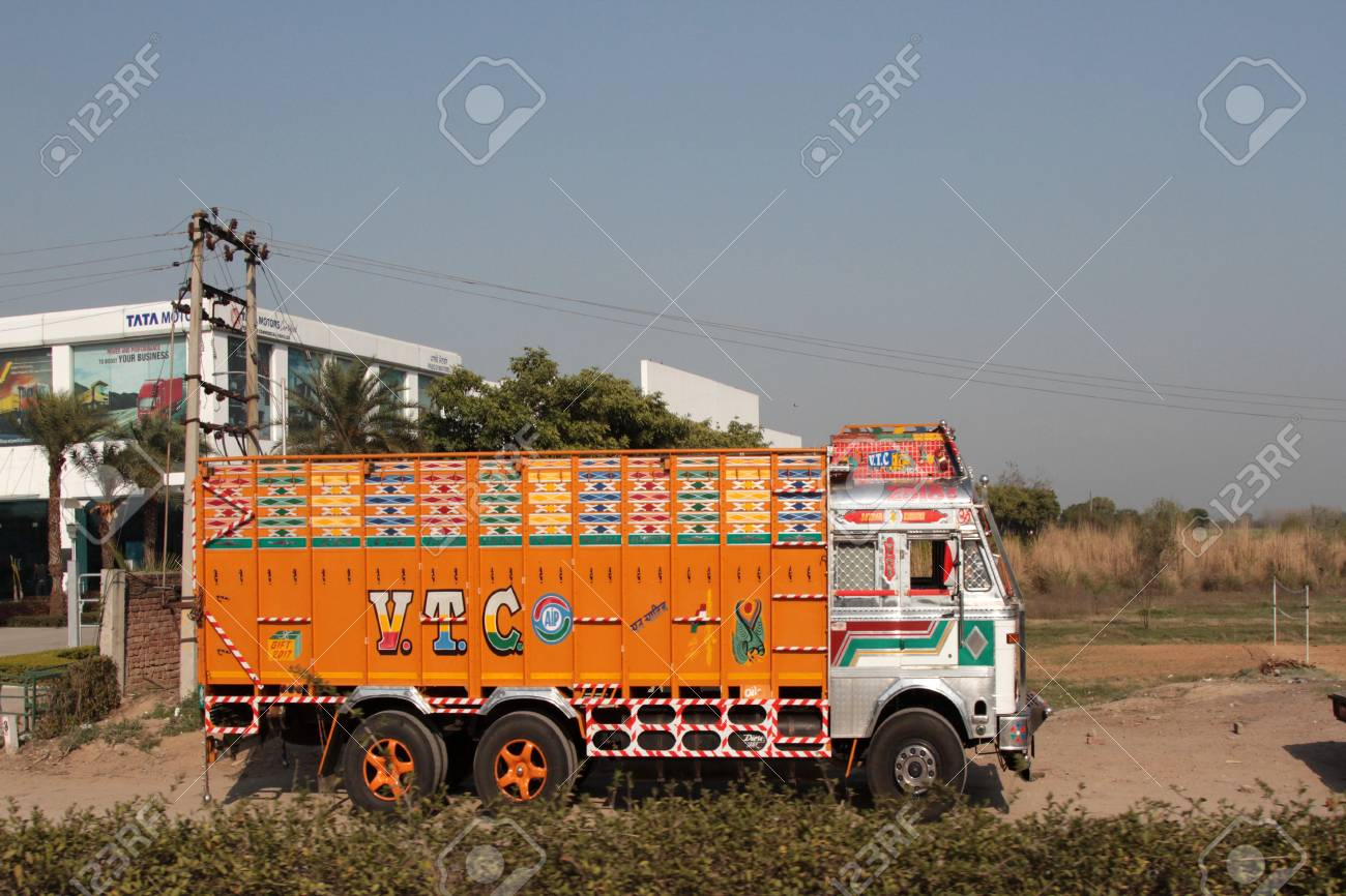 India, Mohali - March 9, 2018: colourful Indian trucks on the