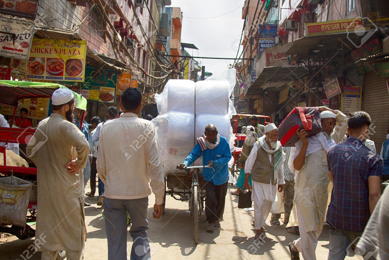 India, new Delhi - March 19, 2018: cargo Indian Bicycle rickshaw
