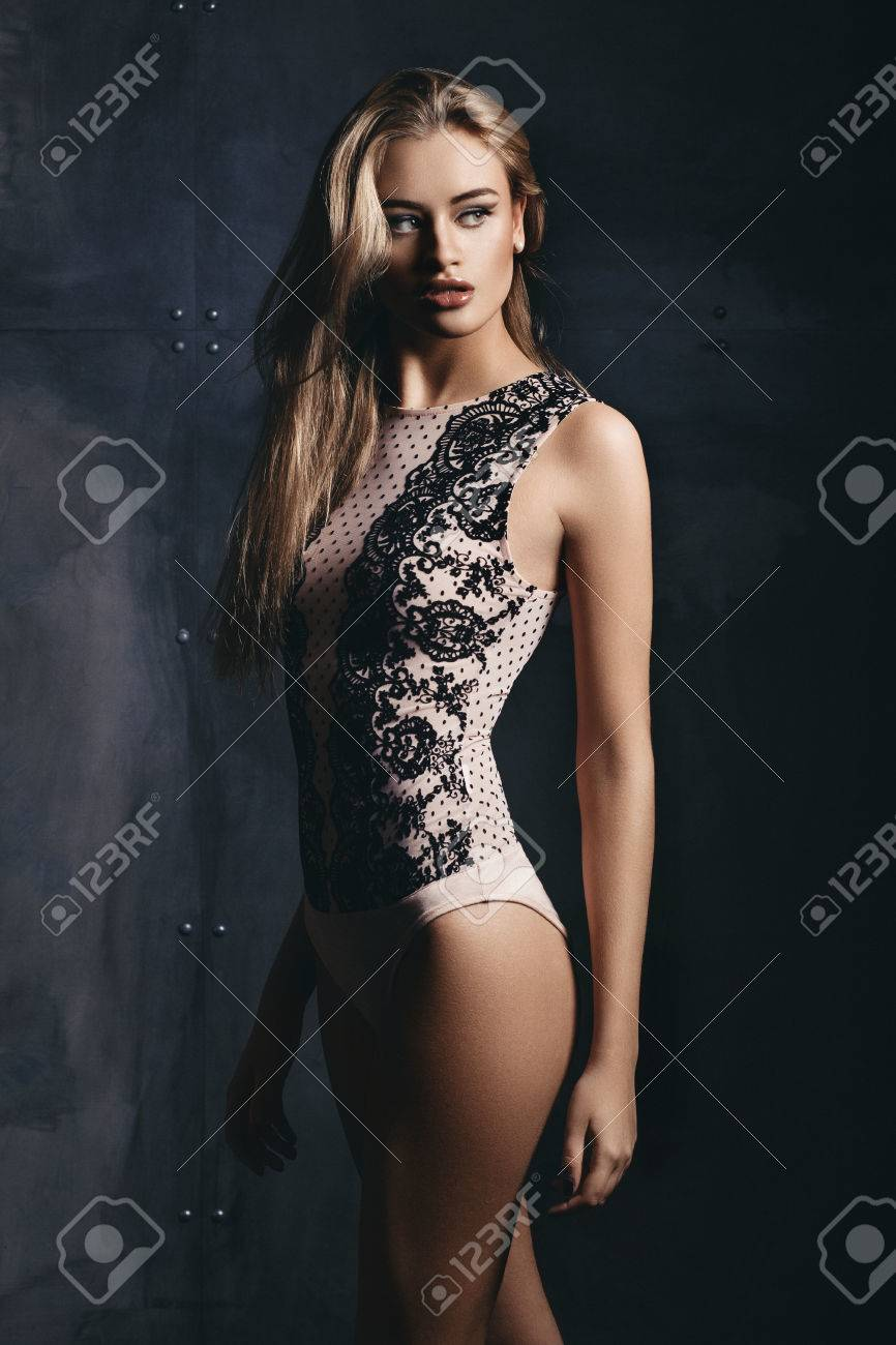 6e74ef3dd80 Woman In Lingerie On Dark Background