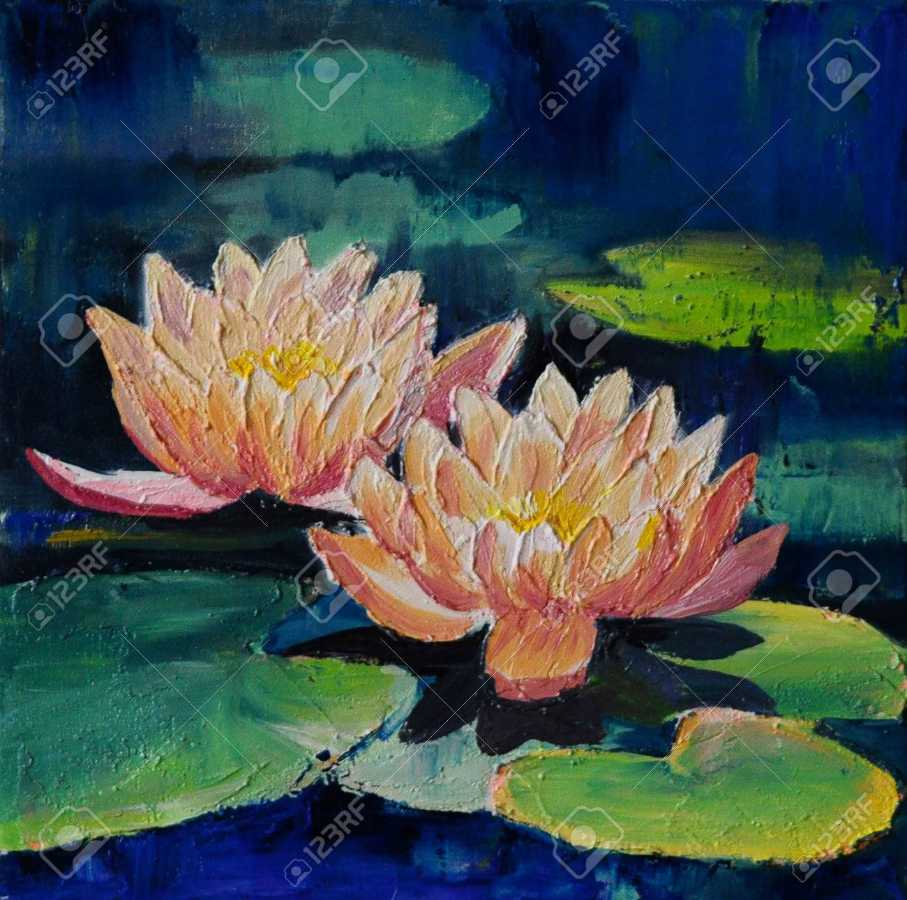 Oil Painting Lotus Flower Abstract Drawing Made In The Style