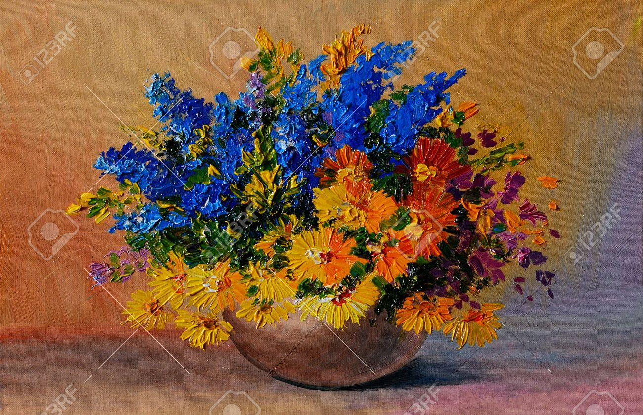 Oil Painting Colorful Bouquet Of Yellow And Blue Flowers On Stock Photo Picture And Royalty Free Image Image 35891005