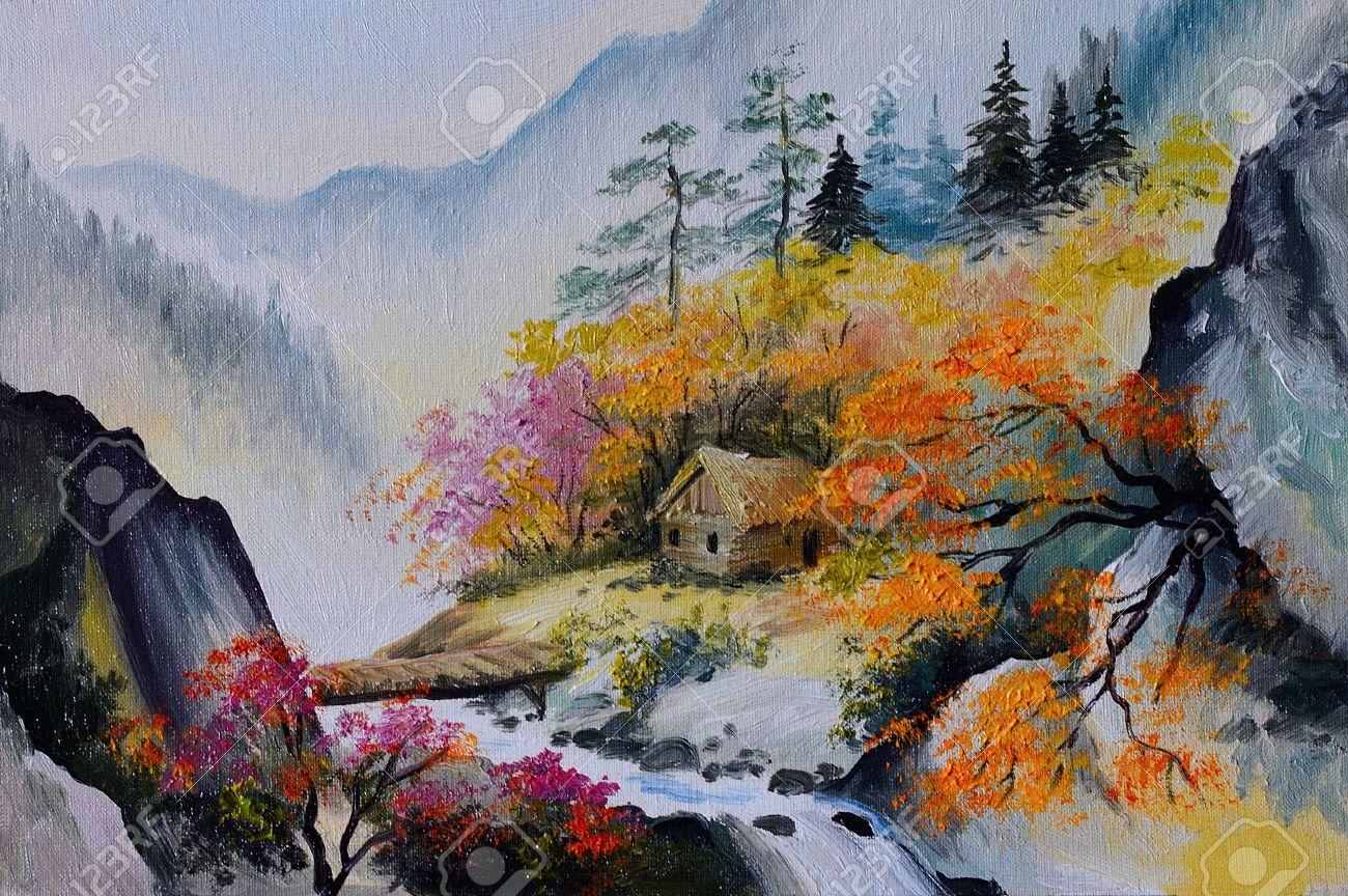 Peinture A L Huile Paysage De Montagnes Maison Dans Les Montagnes Foret Banque D Images Et Photos Libres De Droits Image 35891012