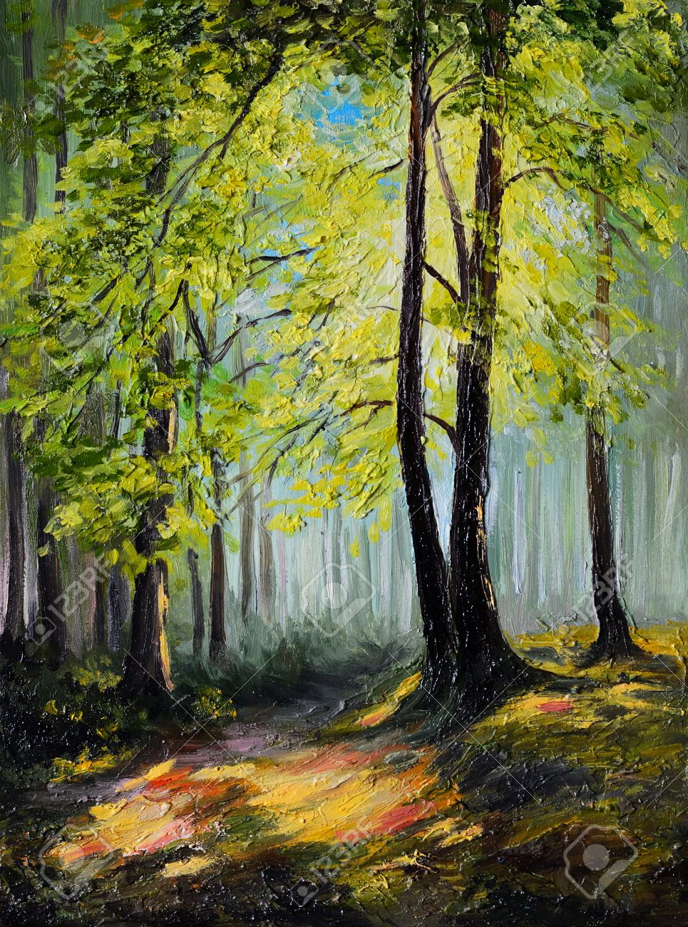 Oil Painting Landscape - Colorful Autumn Forest , Tree Stock Photo ...