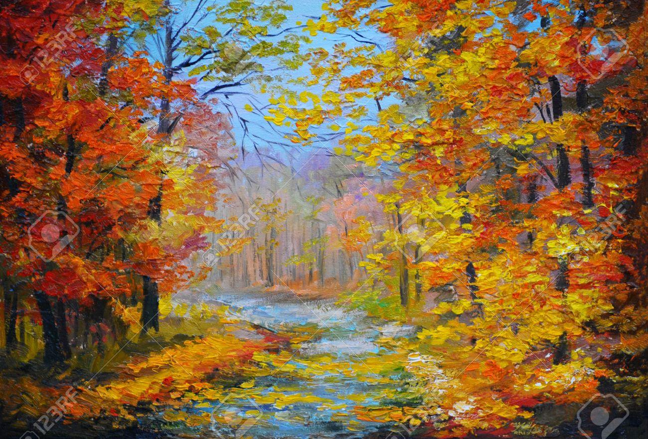 油画風景画 カラフルな秋の森 道 紅葉と青空 印象派のスタイルは