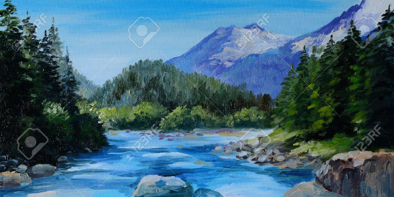Mountains And Rivers Drawing Mountain River Rocks And