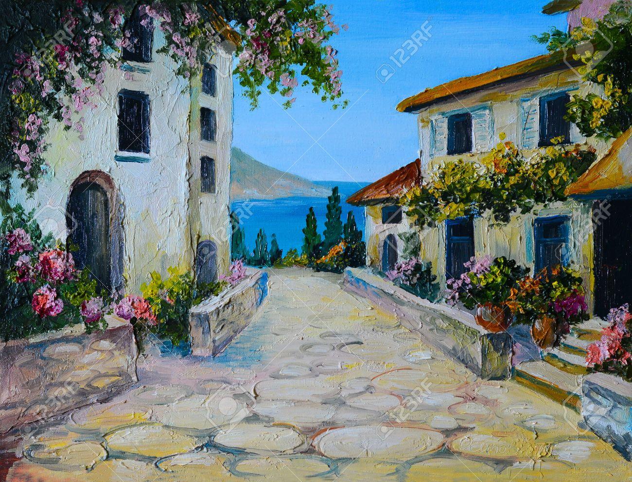 pintura al leo sobre lienzo de una hermosa casas cerca del mar dibujo abstracto
