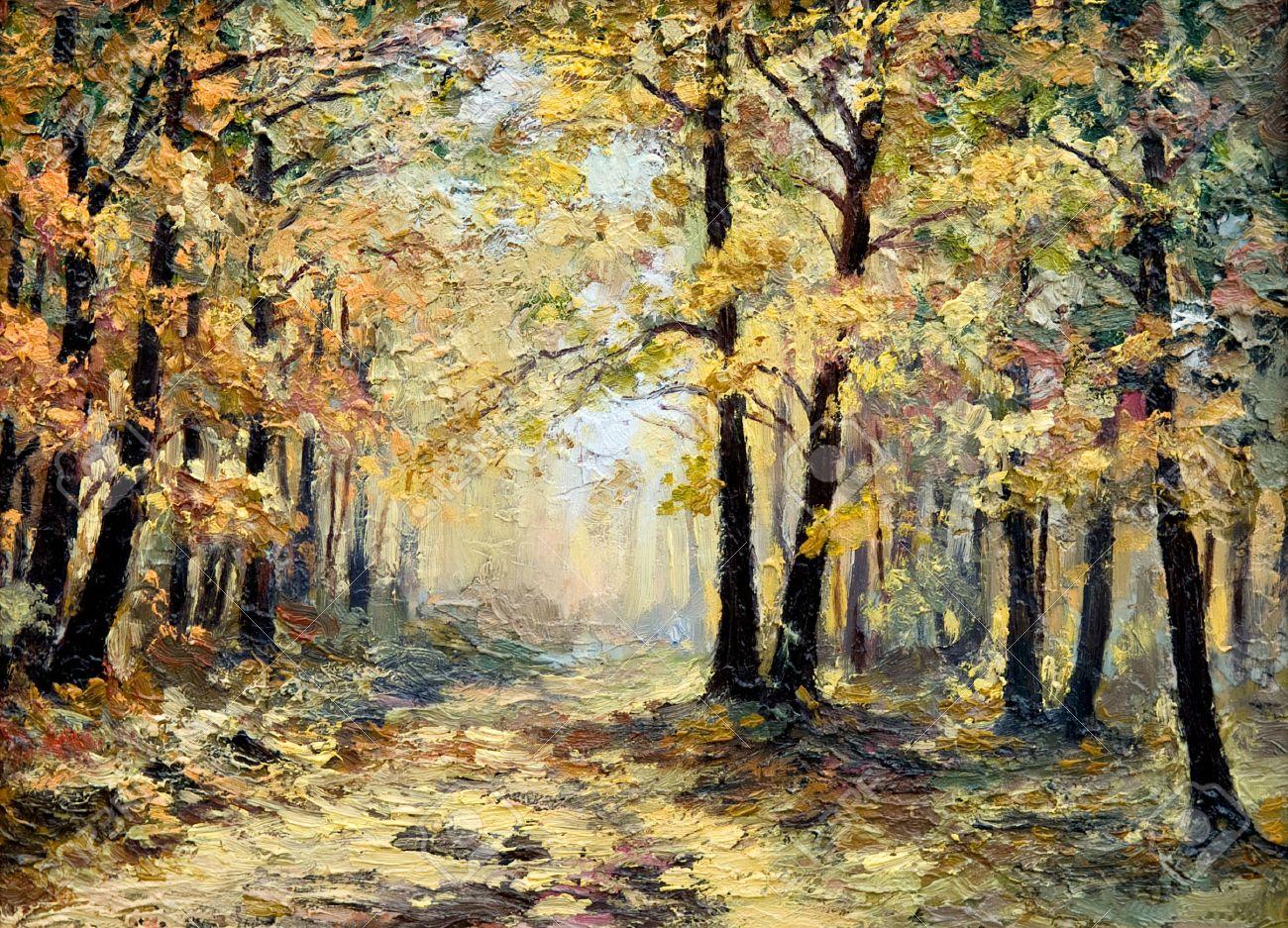 Lgemalde Landschaft Herbst Wald Voller Laub Bunte Bild