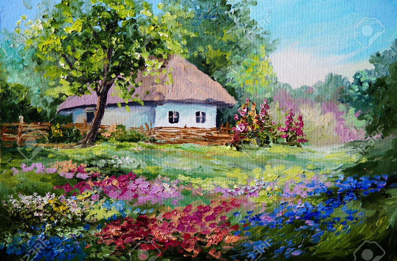 oil painting house in the village flowers landscape stock