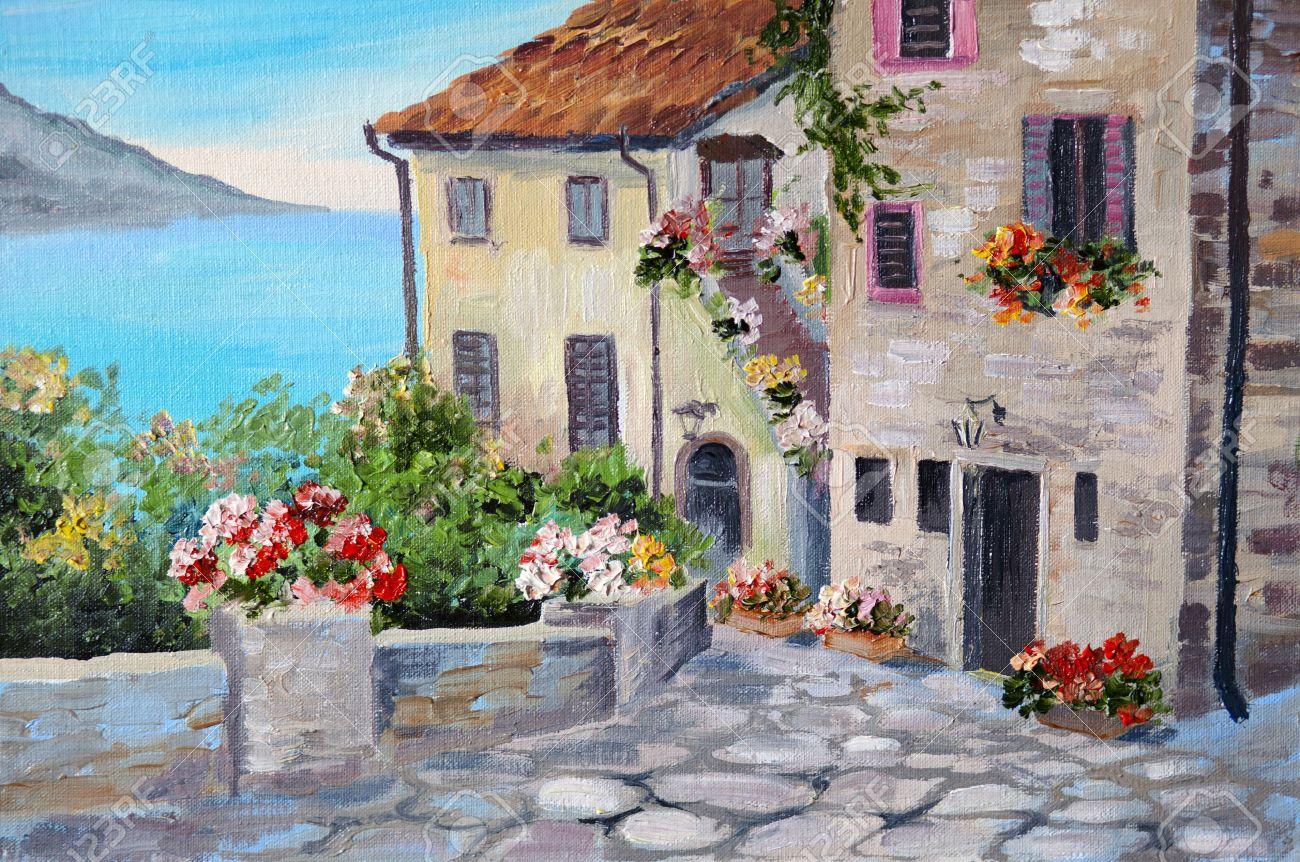 pintura al leo sobre lienzo de una hermosa casas cerca del mar ciudad