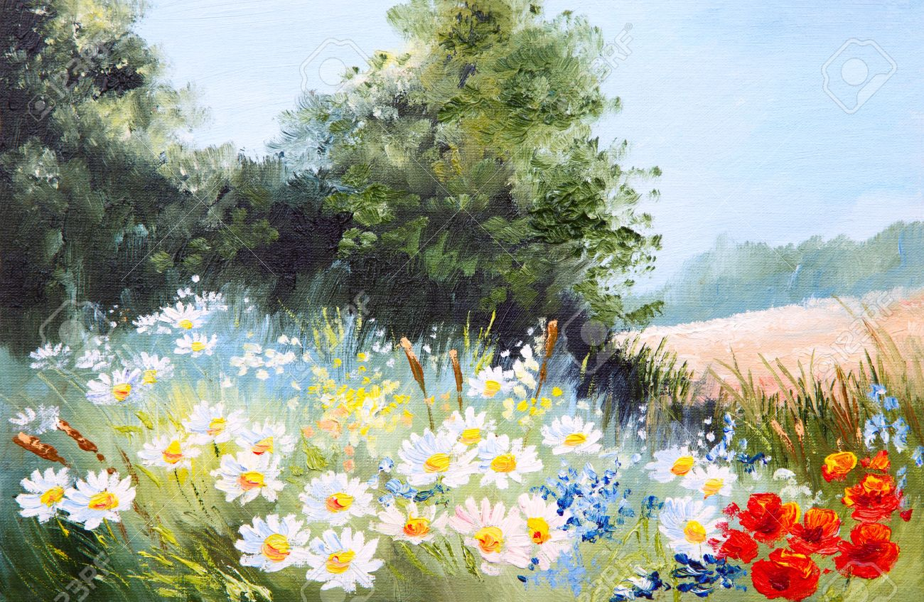 flowers oil painting oil painting landscape meadow of daisies nature - Oil Painting