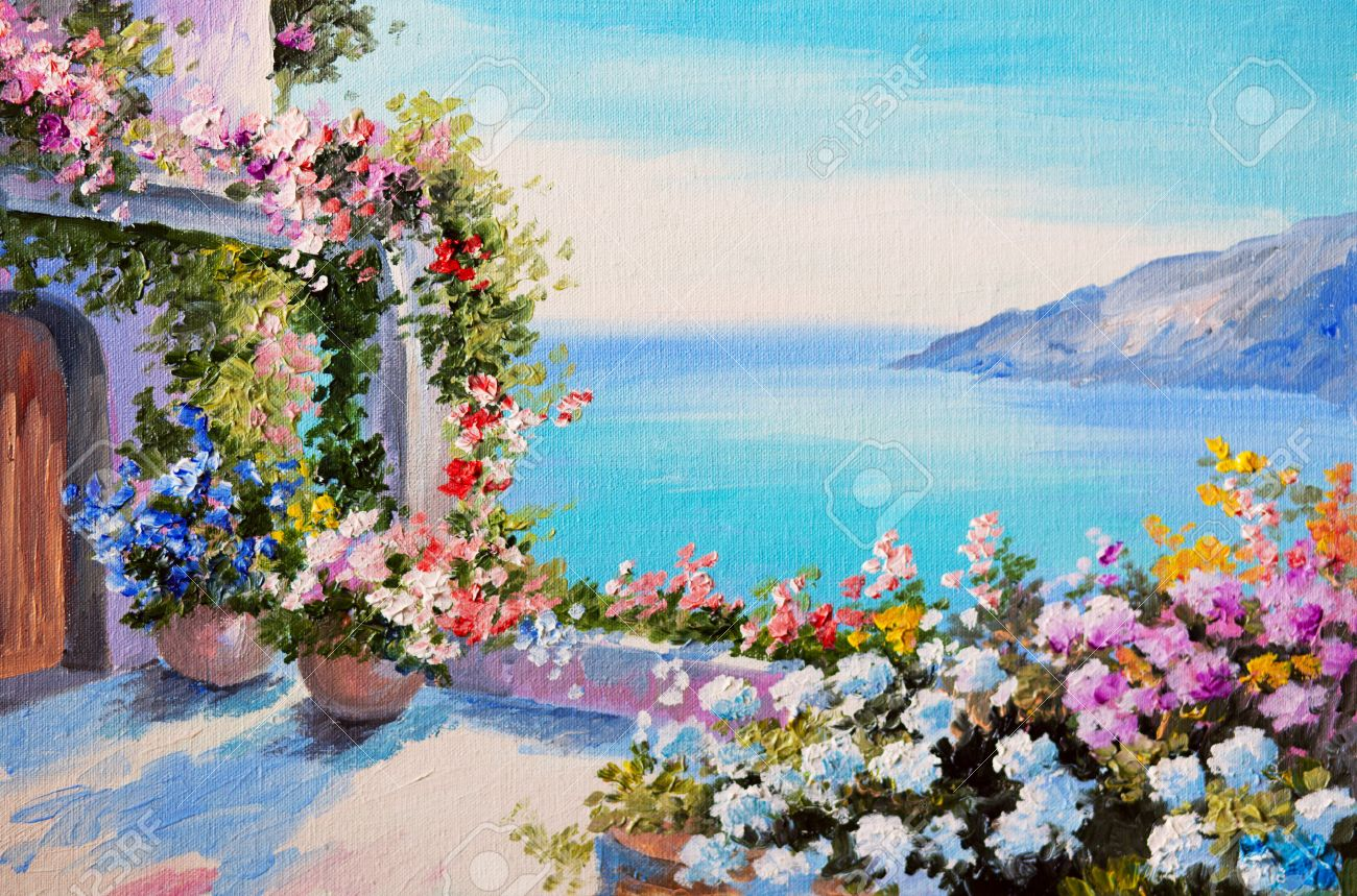 landscape painting oil painting house near sea design field floral - Free Painting Pictures