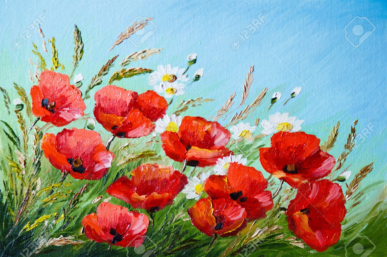 Poppy flower field at night royalty free stock photography image - Artworks Oil Painting Poppies In The Field Flowers Spring