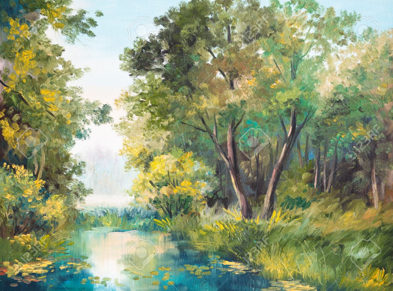 Oil Painting Of Forest Landscape - Pond In The Forest. Abstract ...