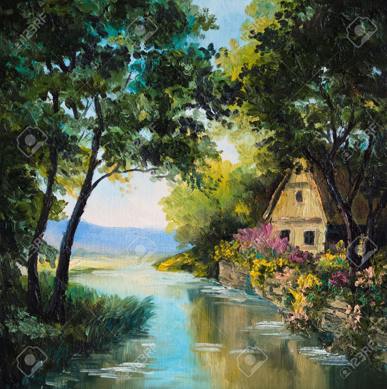 Oil Painting On Canvas - House Near The River, Tree, Wallpaper ...