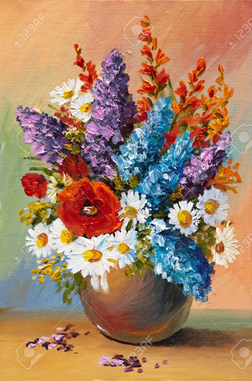 oil painting of spring flowers in a vase on canvas abstract