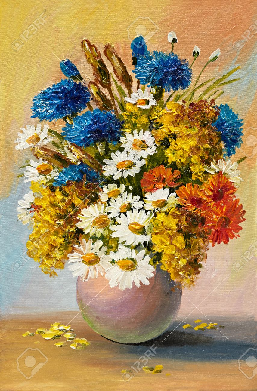 Oil painting of spring flowers in a vase on canvas abstract oil painting of spring flowers in a vase on canvas abstract drawing colorful floridaeventfo Images