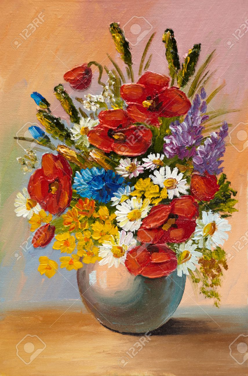 Peinture A L Huile De Fleurs De Printemps Dans Un Vase Sur La Toile