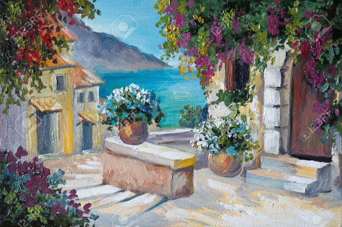 Peinture à L Huile Sur Toile Belles Maisons Et Les Escaliers Près De La Mer Dessin Abstrait Rue Mur Couleur