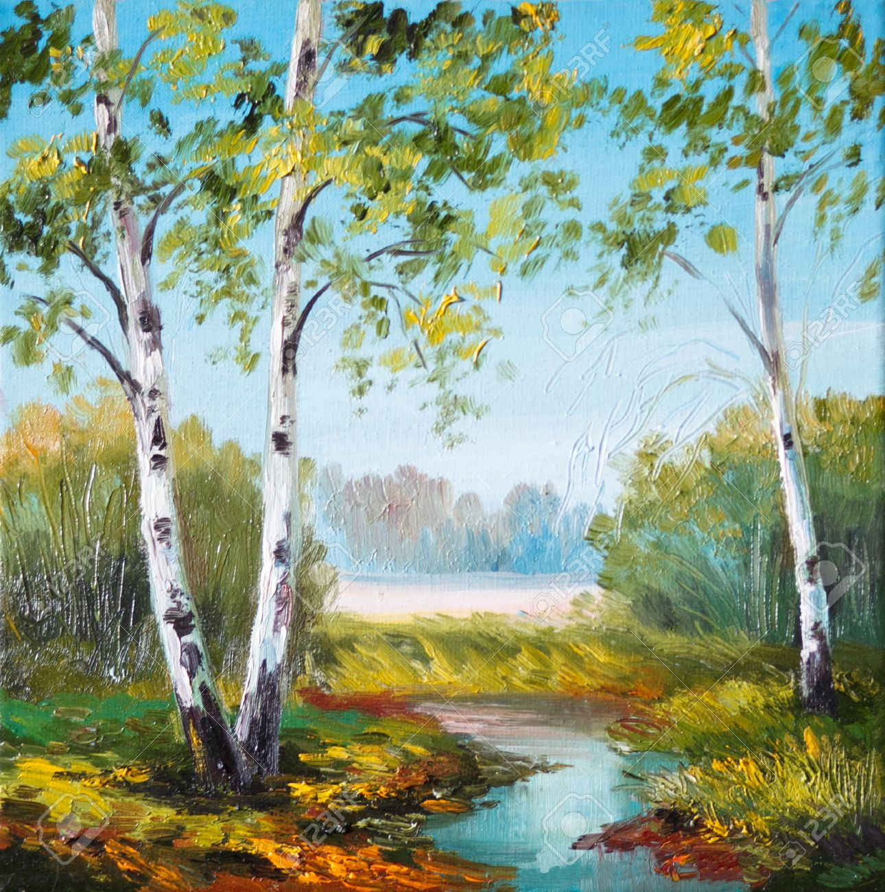 Oil Painting Birch In The Field Near The River Outdoor Wallpaper Stock Photo Picture And Royalty Free Image Image 35891402