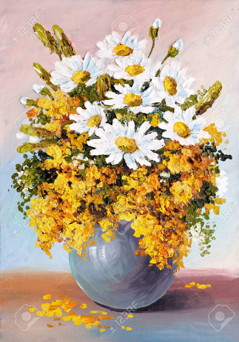Oil painting still life a bouquet of flowers daisies wallpaper oil painting still life a bouquet of flowers daisies wallpaper decoration izmirmasajfo Choice Image
