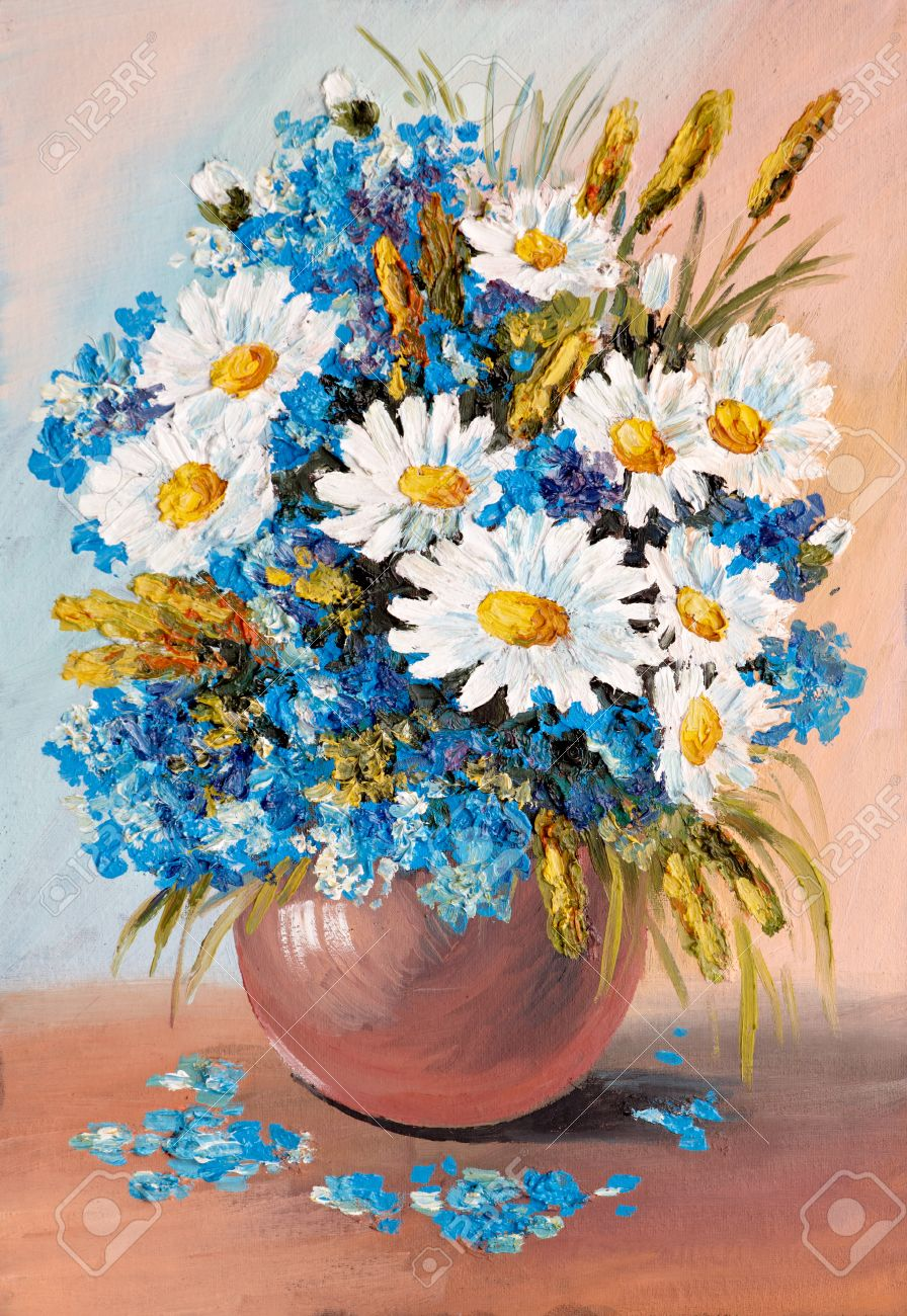 Oil Painting - still life a bouquet of flowers vase agriculture Stock Photo  sc 1 st  123RF.com & Oil Painting - Still Life A Bouquet Of Flowers Vase Agriculture ...