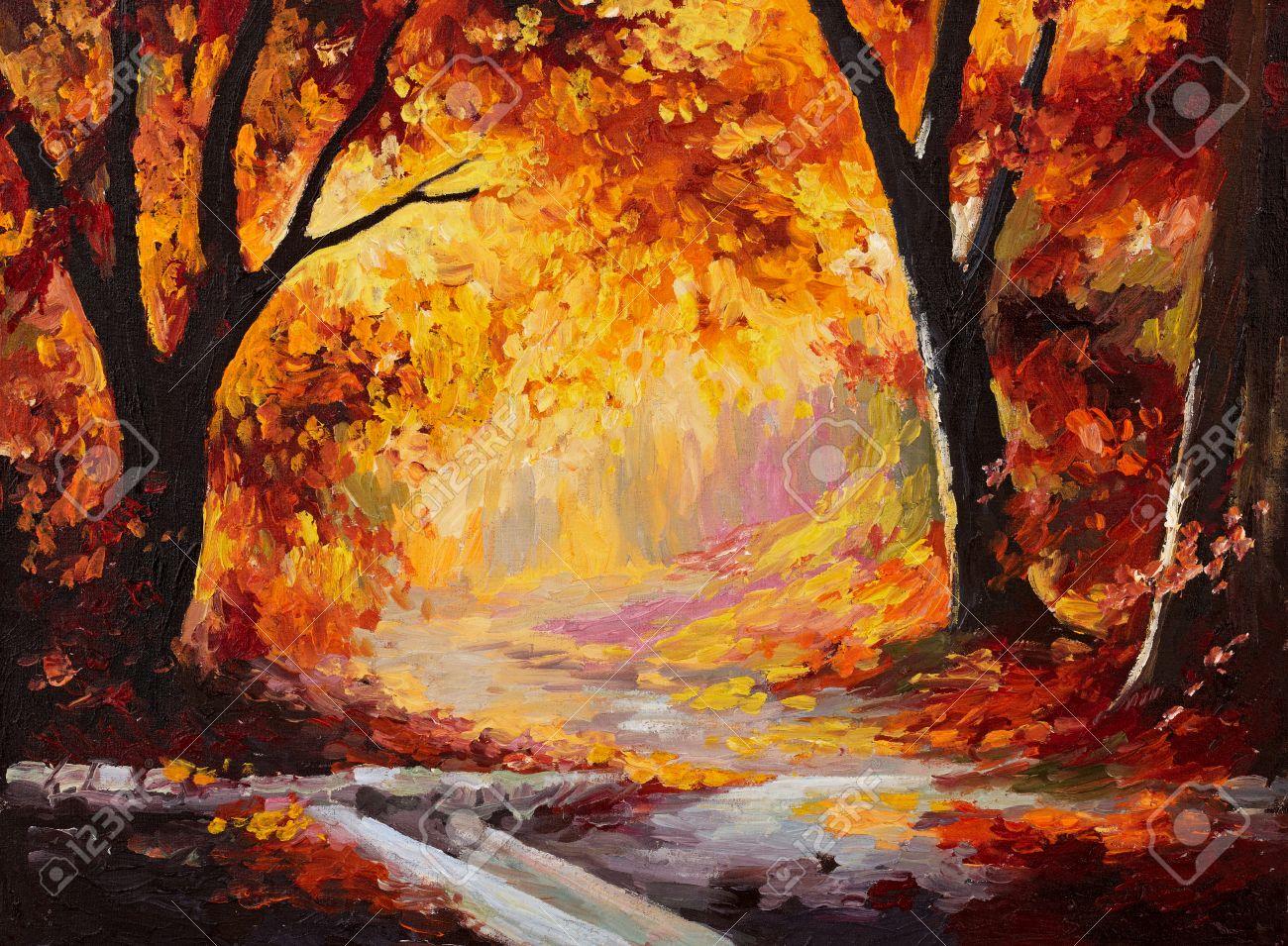 Peinture A L Huile Foret D Automne Les Feuilles Lumineuses