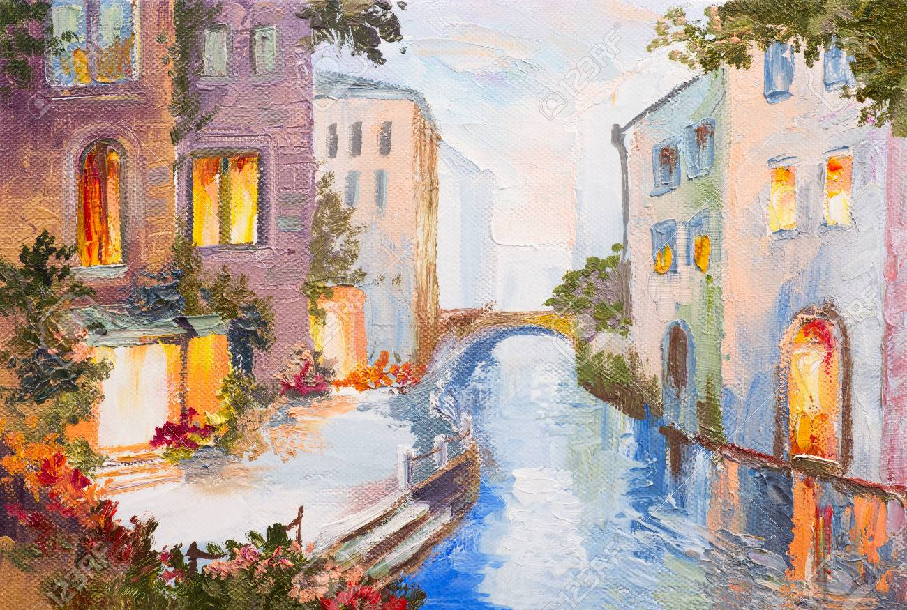 Oil painting canal in venice italy modern impressionism colorful art stock photo
