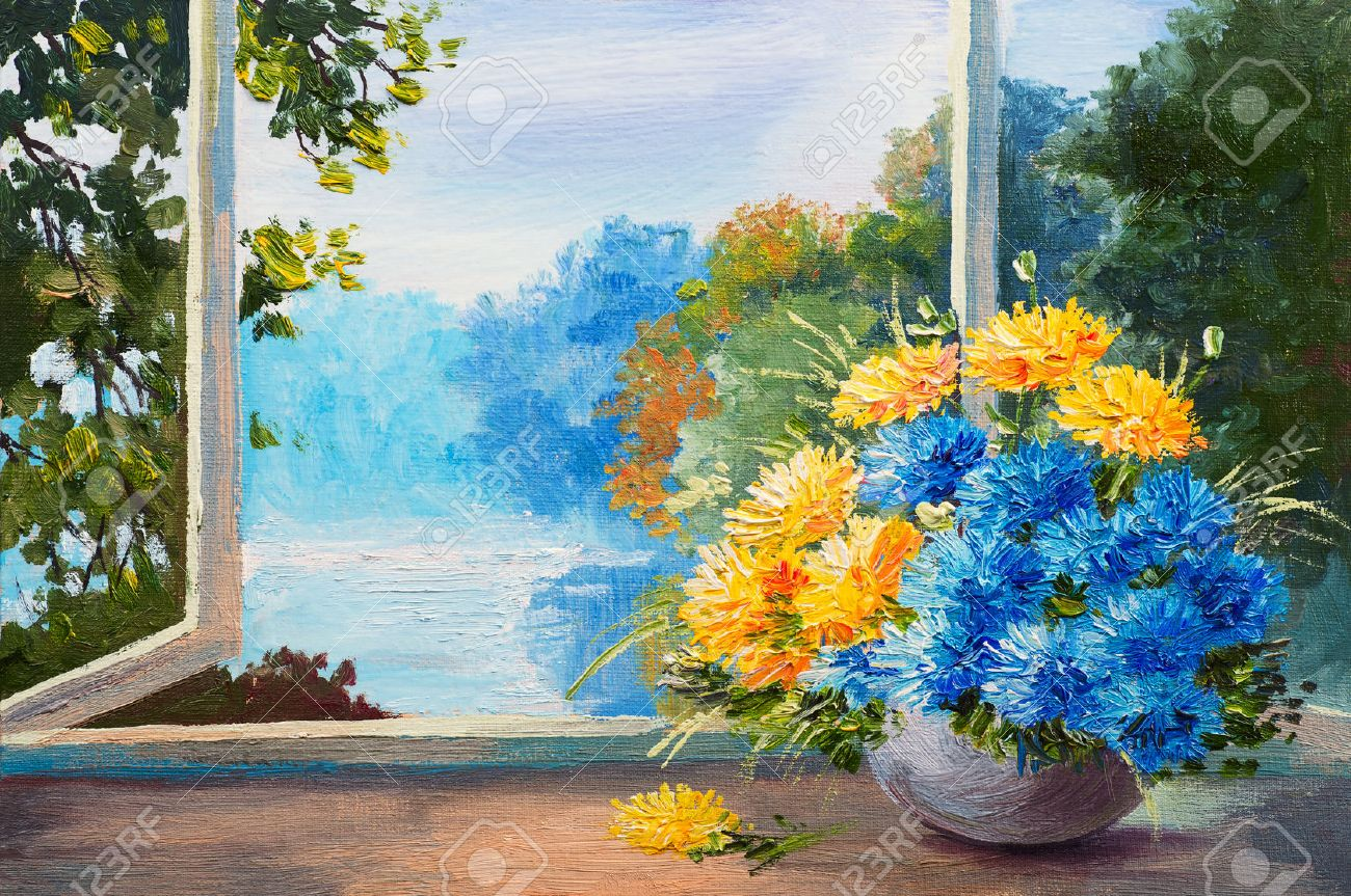 Bouquet Of Spring Flowers On A Table Near The Window Oil Painting Standard Bild