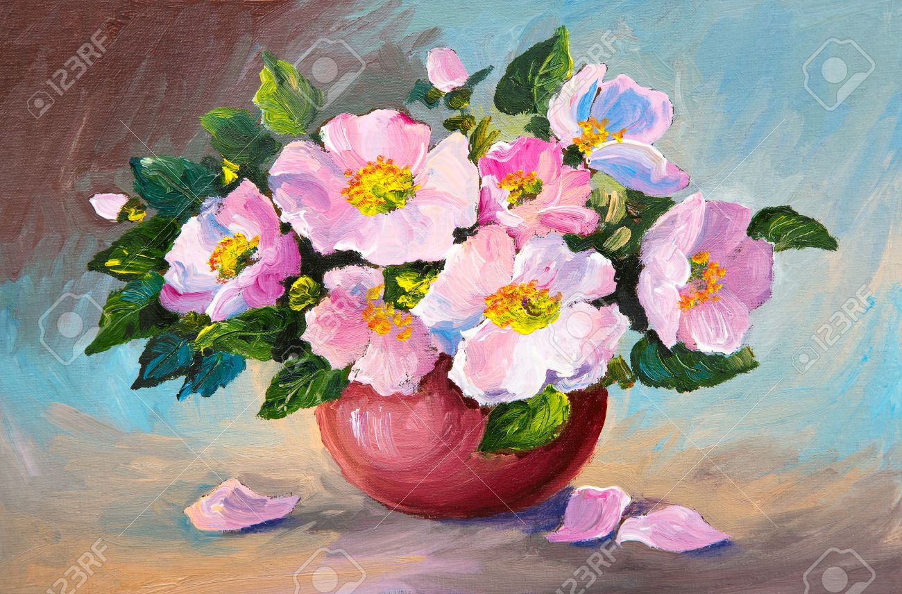 Oil painting of spring pink wild roses in a vase on canvas art oil painting of spring pink wild roses in a vase on canvas art work stock floridaeventfo Images