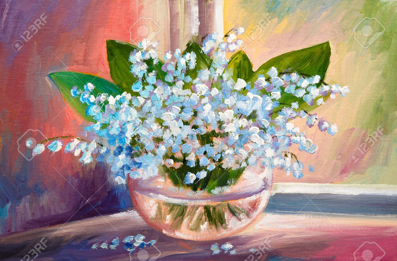 Oil painting of spring lily of the valley flowers in a vase on oil painting of spring lily of the valley flowers in a vase on canvas art floridaeventfo Images