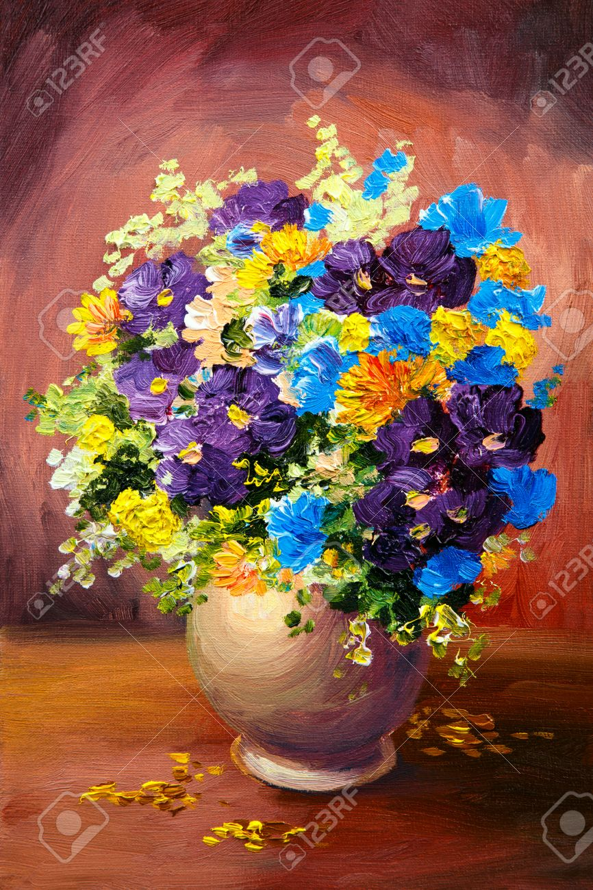 Oil painting of spring multicolored flowers in a vase on canvas oil painting of spring multicolored flowers in a vase on canvas art work stock photo floridaeventfo Images