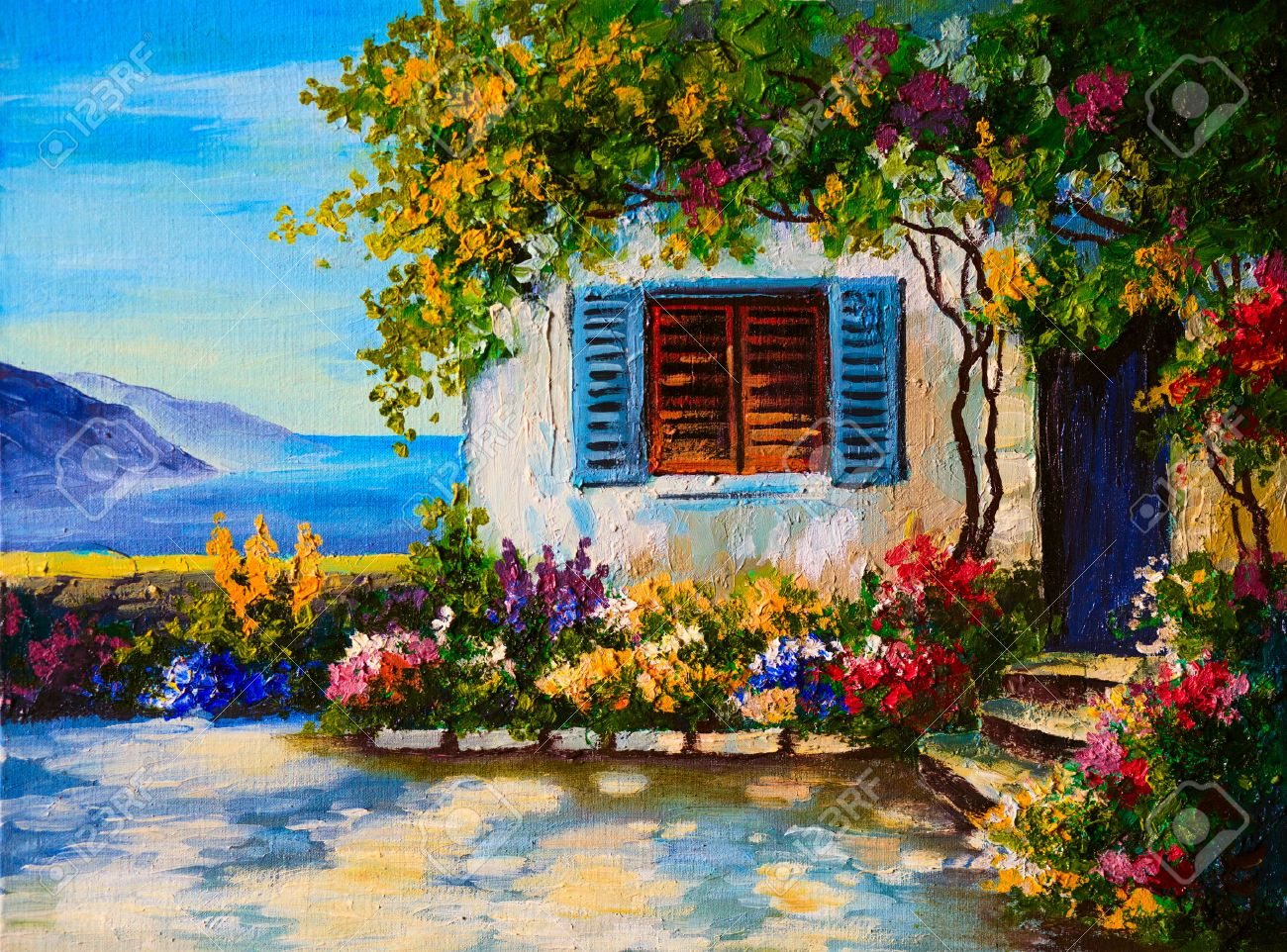 Oil painting oil painting on canvas of a beautiful houses near the sea abstract