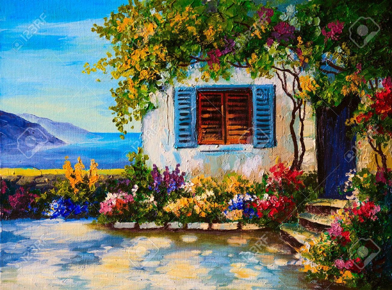Banque Du0027images   Peinture à Lu0027huile Sur Toile Du0027une Belle Maison Près De  La Mer, Dessin Abstrait