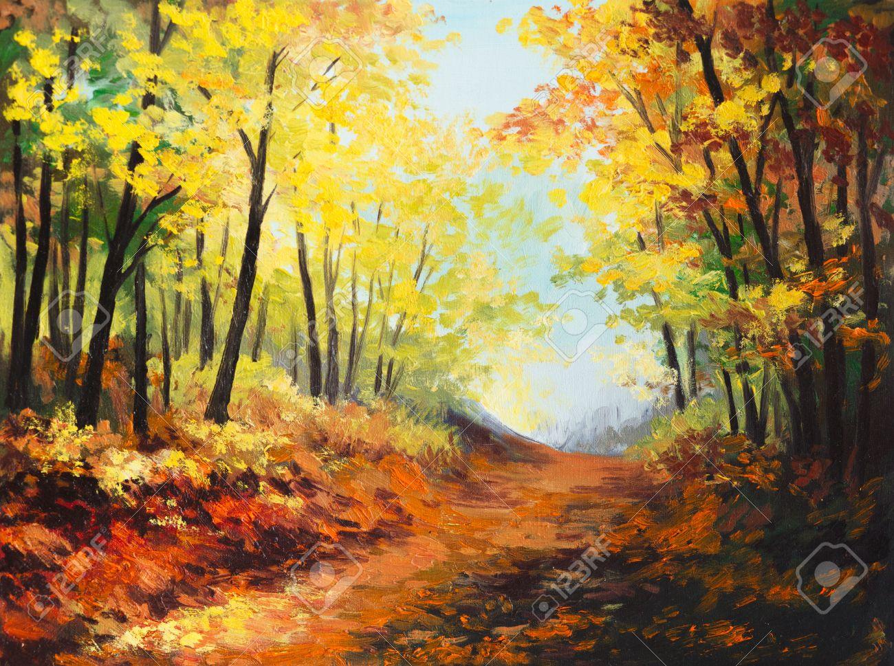 Peinture à L'huile Paysage - La Forêt D'automne