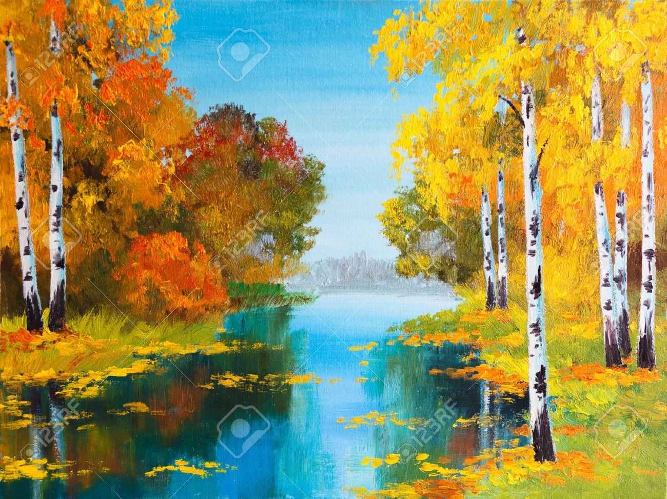 Rainbow landscape original oil pastel drawing - Oil Pastel Drawing Oil Painting Landscape Birch Forest Near The River Stock Photo