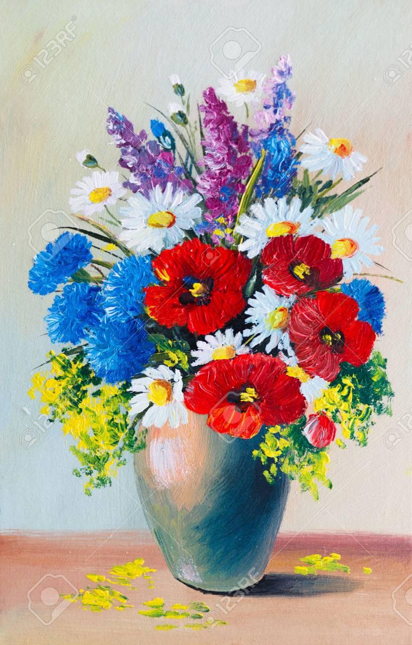 Peinture à l\u0027huile , nature morte, un bouquet de fleurs Banque d\u0027