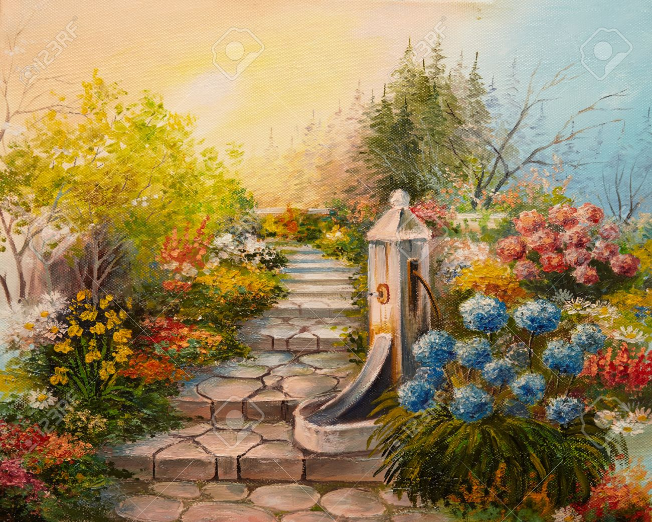 Flower Garden Paintings. Oil Painting Stone Stairs In The Forest Stock  Photo 38223007 Flower Garden