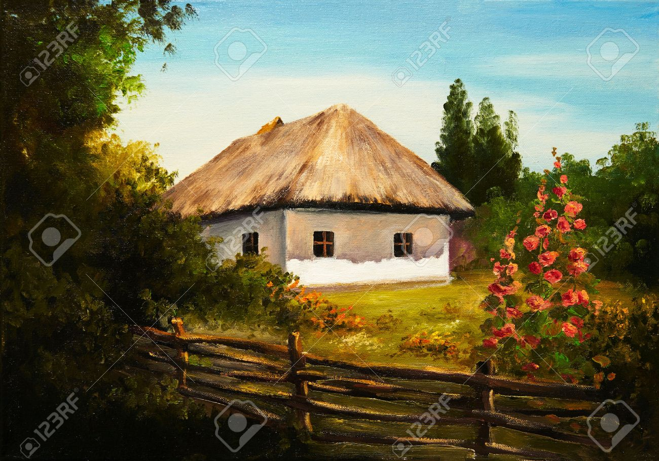 oil painting house in the forest stock photo picture and