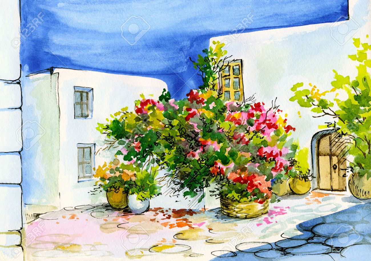 Watercolor Painting Of A Bouquet Of Flowers In Pots On The - Patio painting