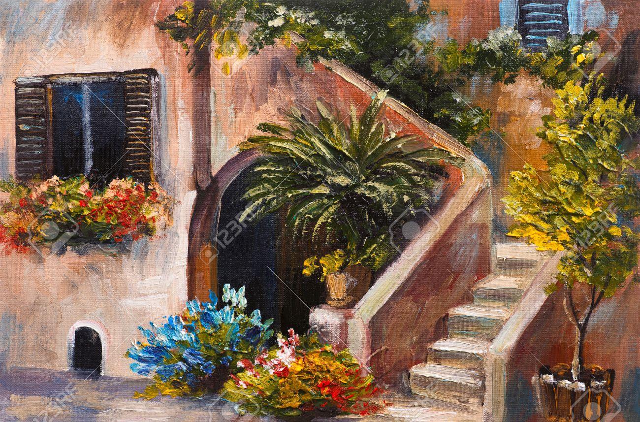 Peinture à l\'huile - terrasse d\'été, fleurs colorées dans un jardin, maison  en Grèce