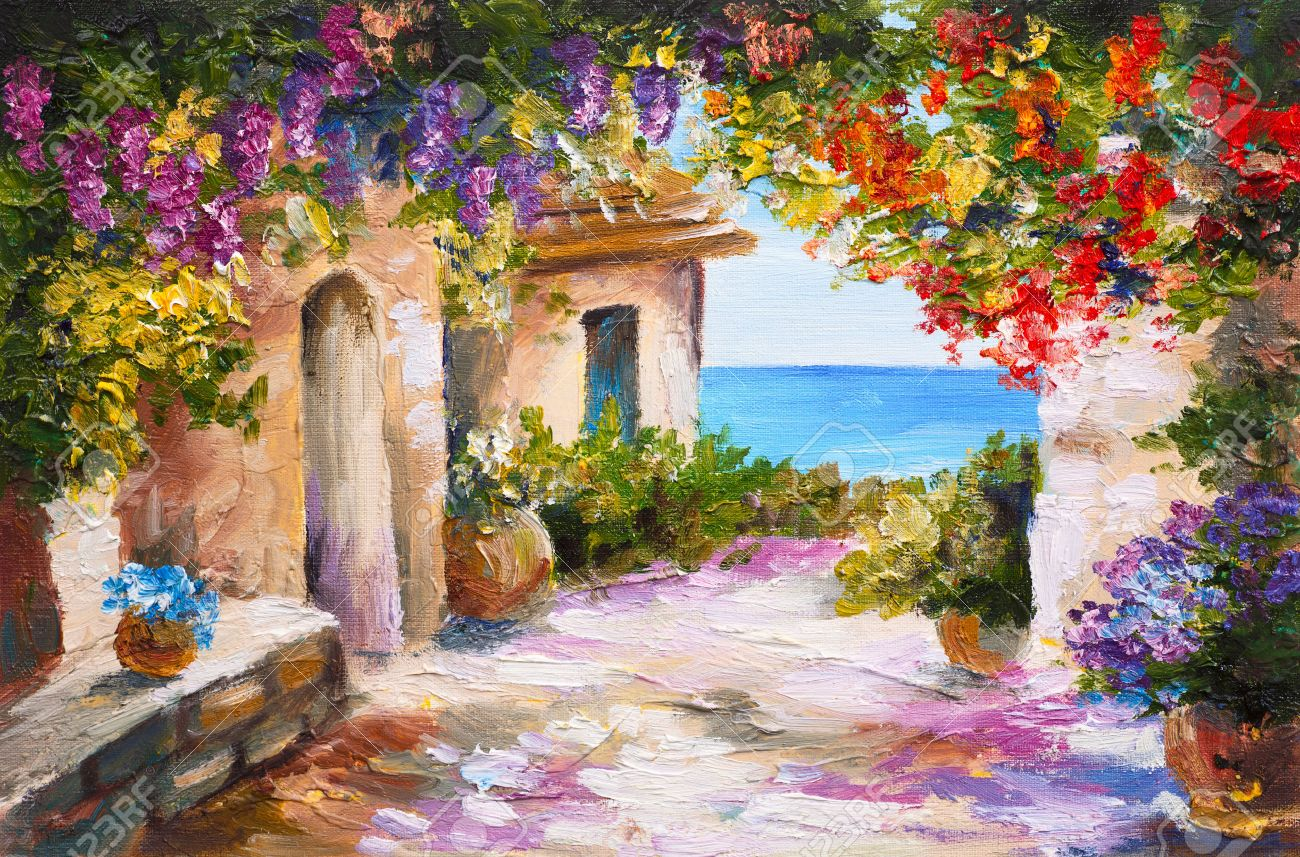 landscape painting oil painting house near the sea colorful flowers summer seascape - Free Painting Pictures