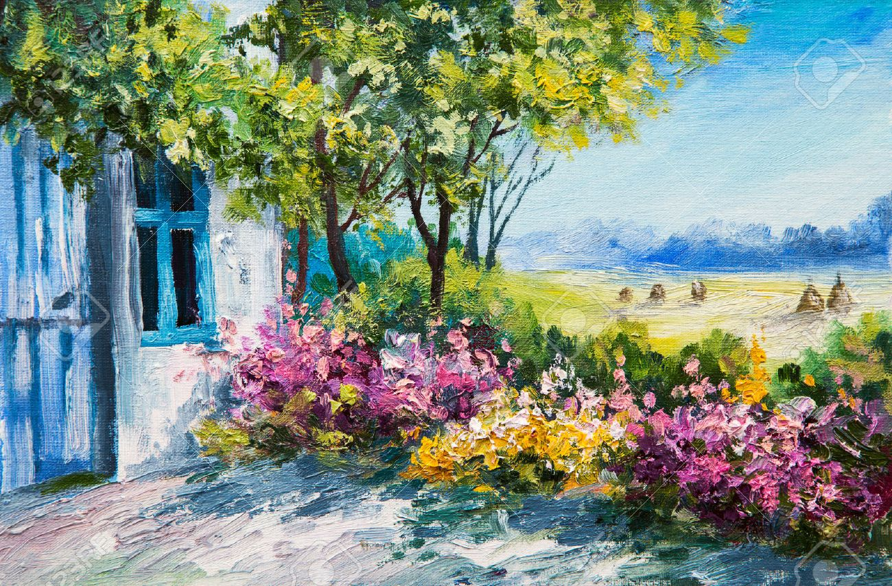 Oil Painting Landscape   Garden Near The House, Colorful Flowers, Summer  Forest Stock Photo