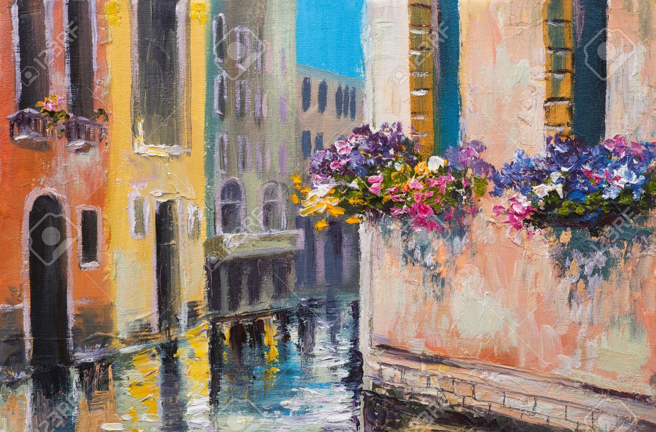 Peinture à L'huile, Canal à Venise, En Italie,