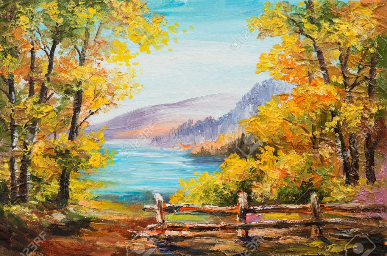 Oil painting landscape - colorful autumn forest, mountain lake, impressionism Stock Photo - 46570176