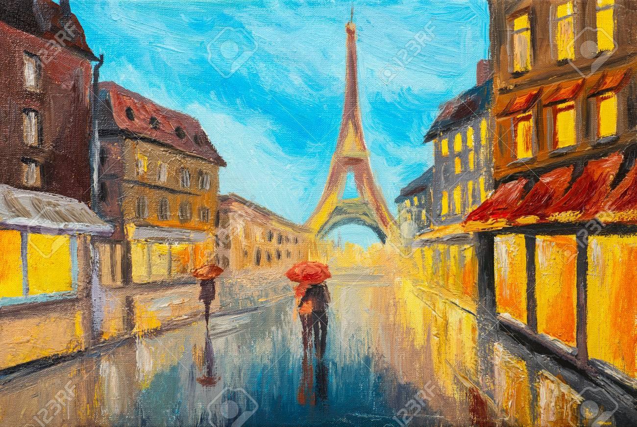 Peinture A L Huile De La Tour Eiffel France Banque D Images Et Photos Libres De Droits Image 48759368