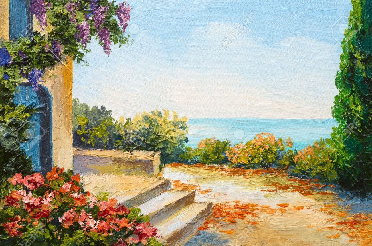 oil painting house near the sea colorful flowers summer