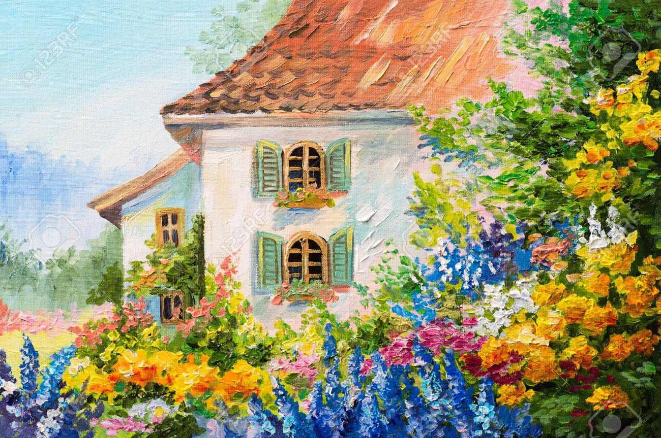 Attrayant Oil Painting Landscape, House In The Flower Garden, Abstract Impressionism  Stock Photo   56391050