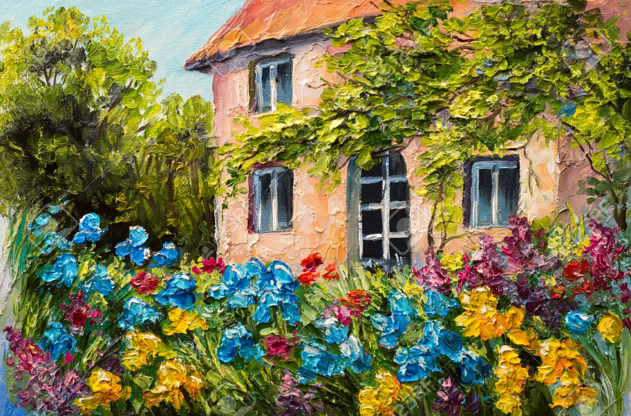 Bon Oil Painting Landscape, House In The Flower Garden, Abstract Impressionism  Stock Photo   56391053