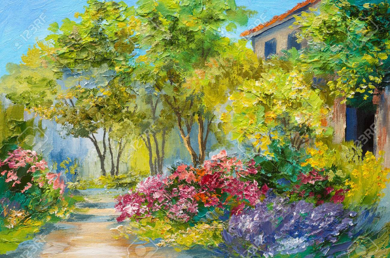 oil painting house in the summer forest stock photo picture and