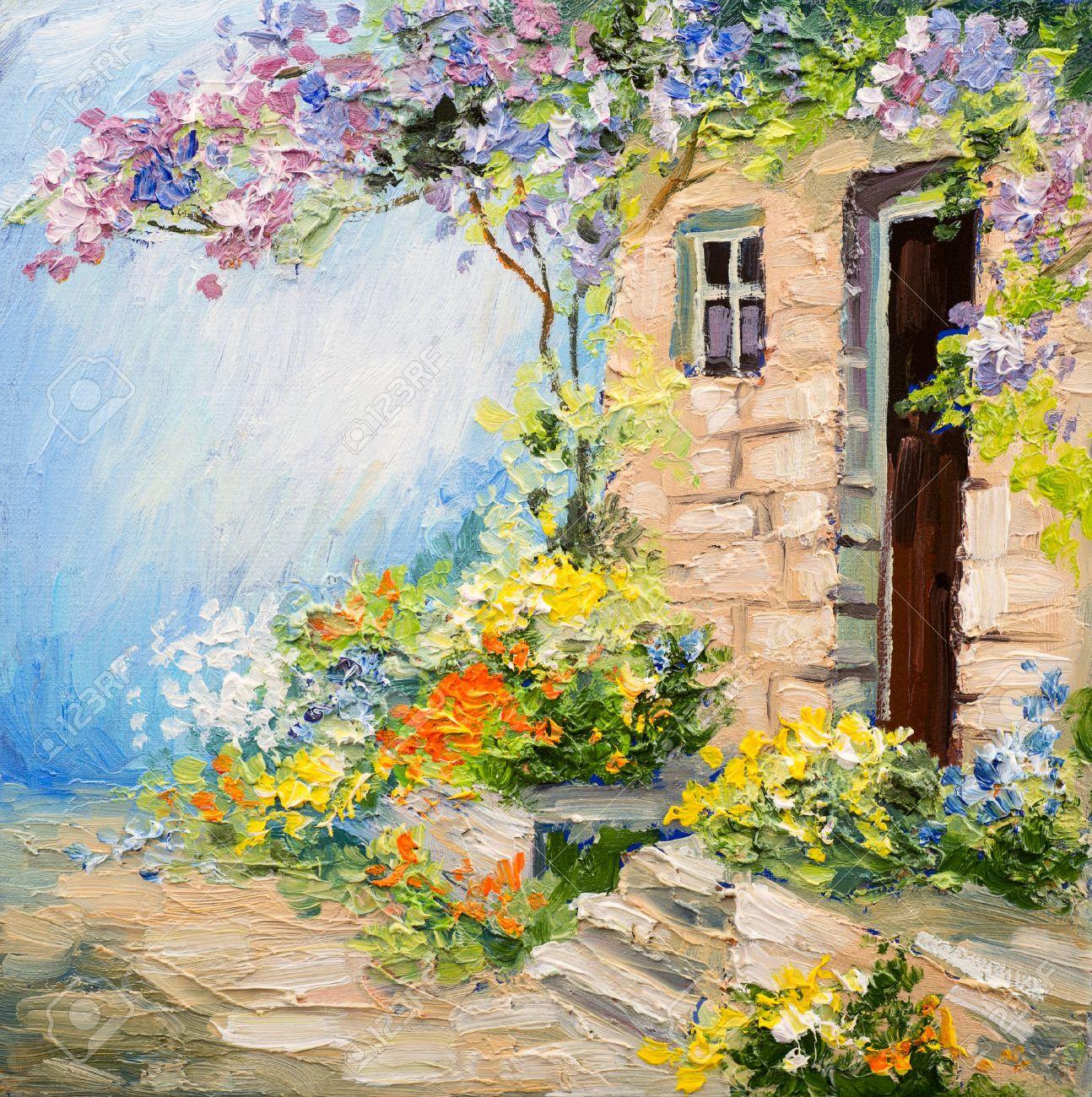 Exceptionnel Peinture à L'huile Paysage - Jardin Près De La Maison, Des Fleurs  LQ74